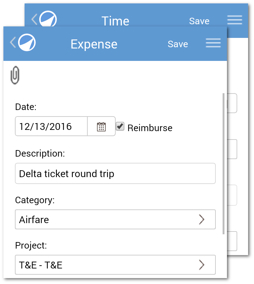 mobile-time-and-expense-entry-screen